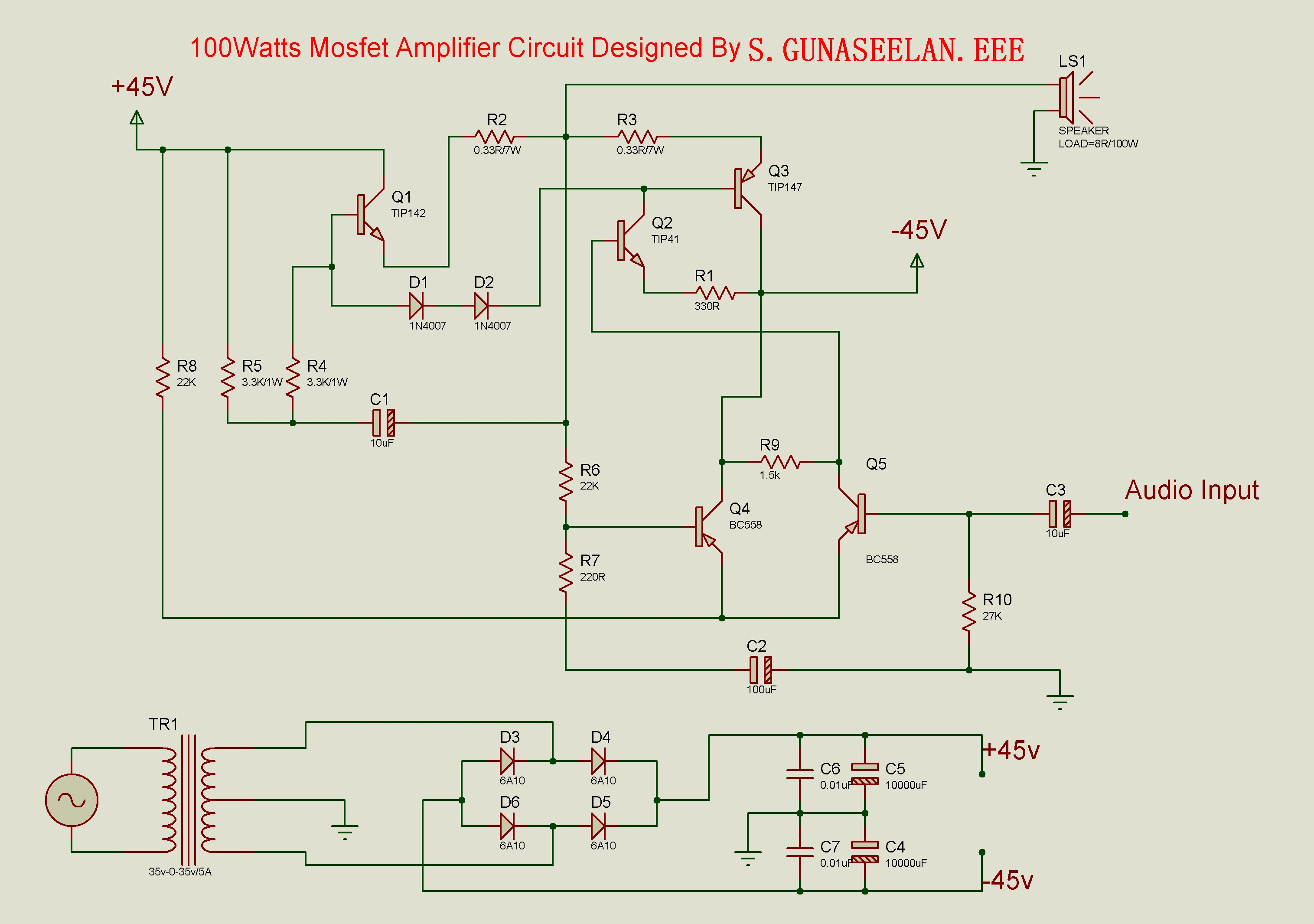 Gunacircuits Transistor Amplifier Circuit Design Schematic Diagram This Is The Cheapest 150 Watt You Can Makei Thinkbased On Two Darlington Power Transistors