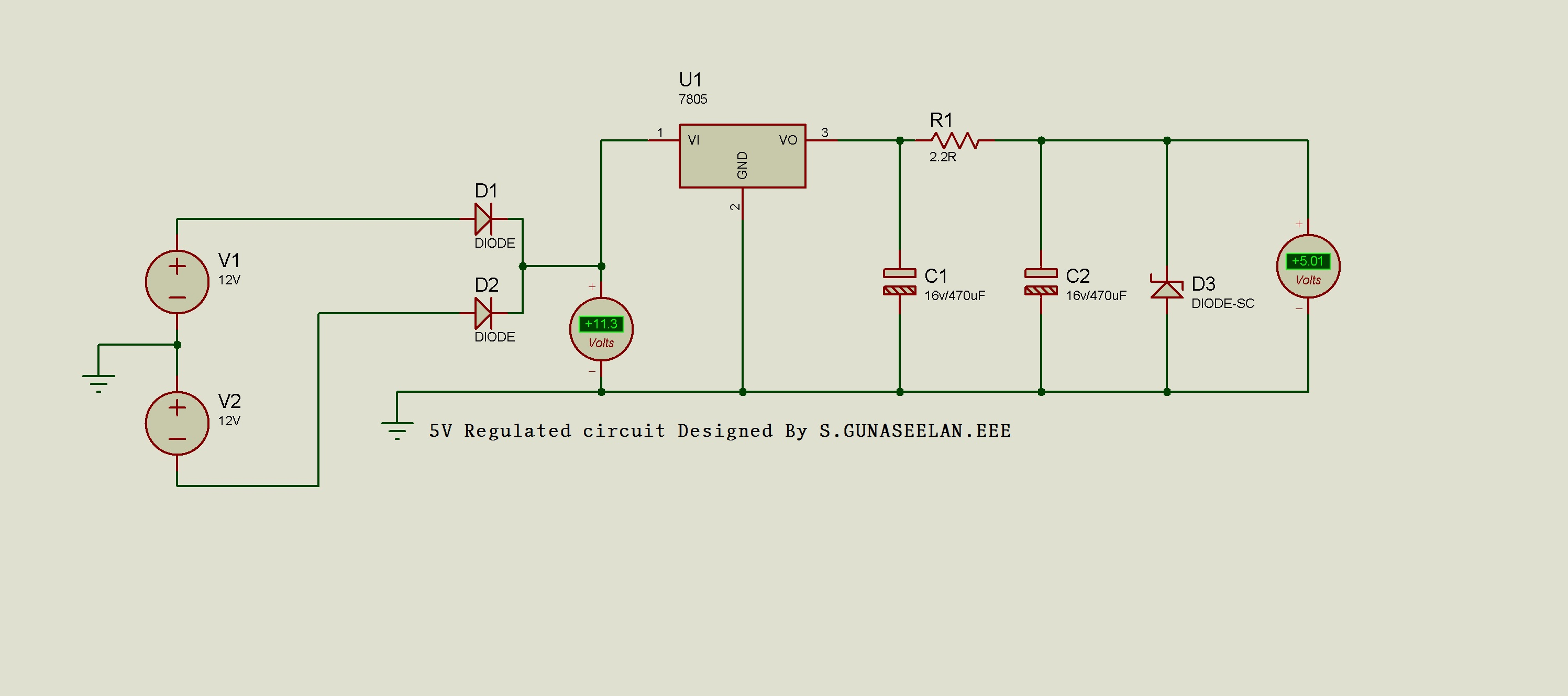 Gunacircuits 12v To 6v Converter Circuit With 7805 Voltage Regulator Ic Maintains The Output At A Constant Value Avoltage Integrated Is Member Of 78xx