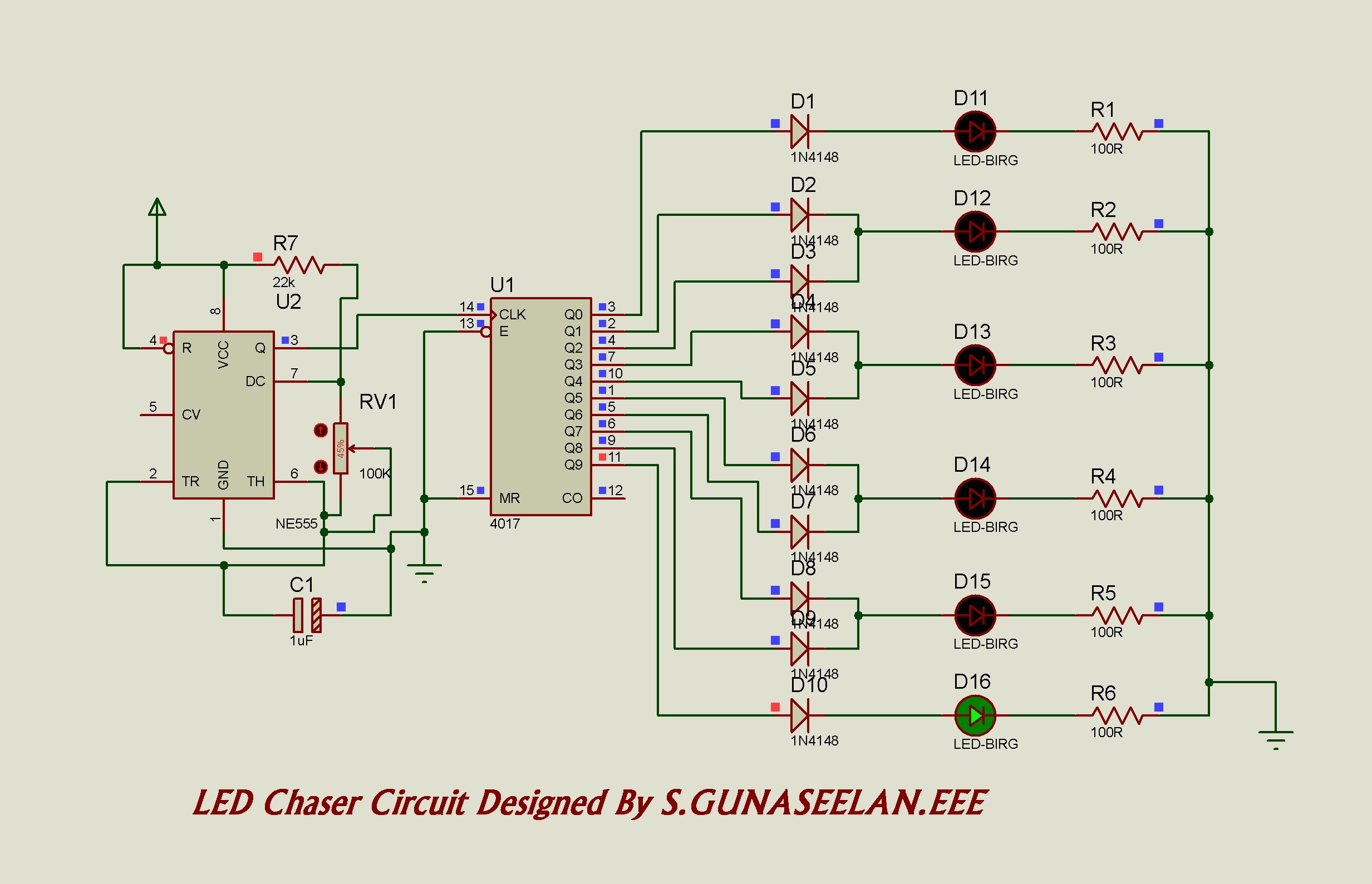 Gunacircuits Sound To Light Converter Circuit Diagram Chaser As Below Is Led Which The Cd4017 Act Driver In 10 Output Working Principle From Will See That We Use