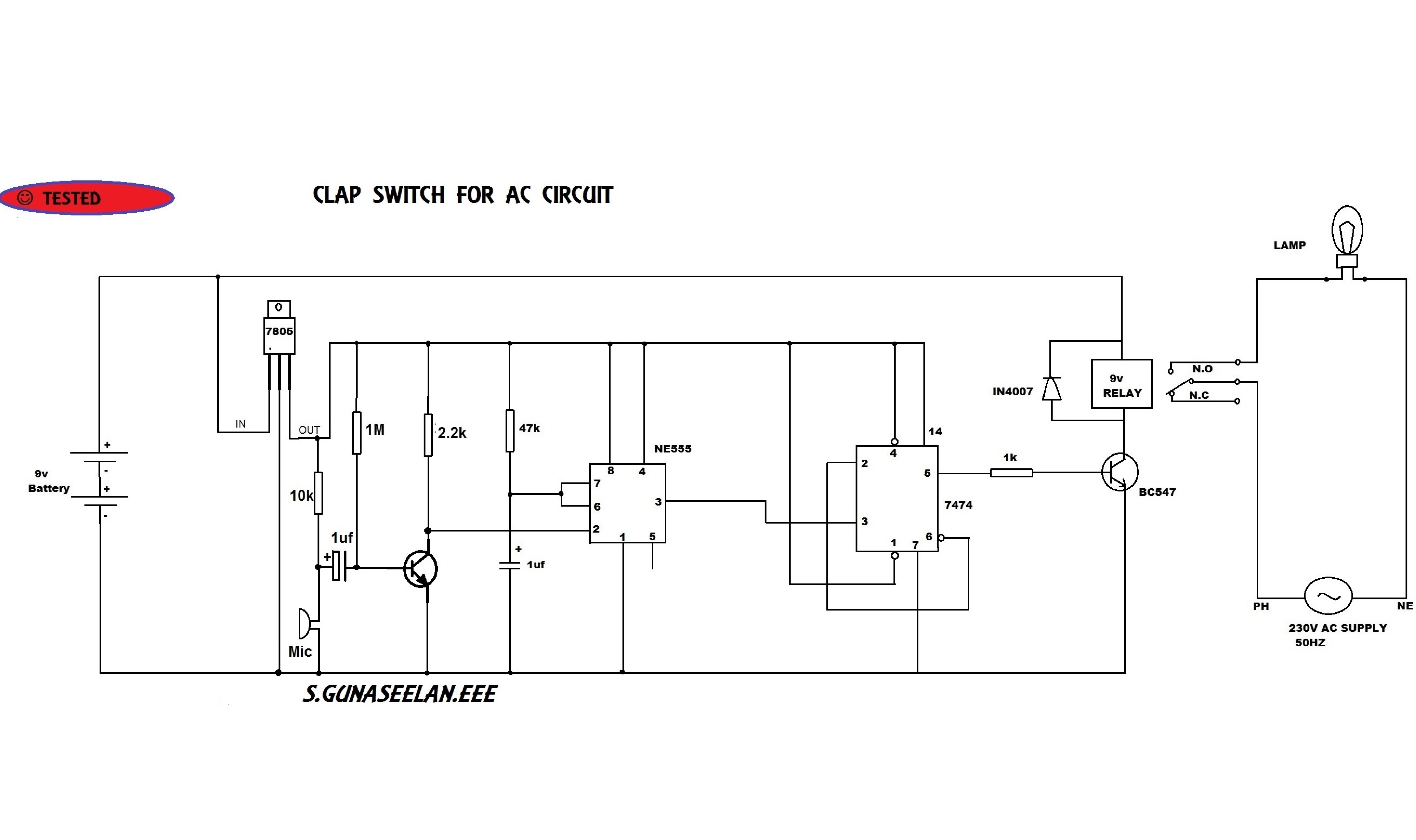 Gunacircuits Clap Switch Circuit Using Transistors Electronic Projects The Main Component Of This Is Electric Condenser Mic Which Has Been Used As A Sound Sensor