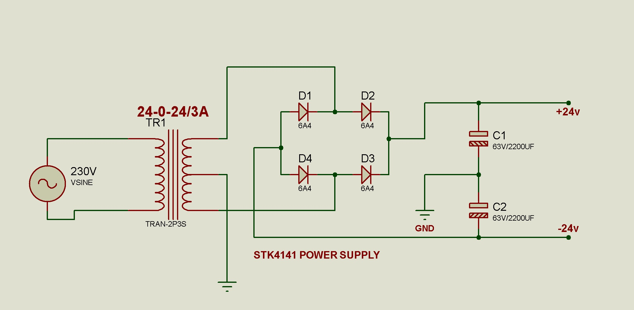 Gunacircuits 25w Audio Amplifier Circuit Very Simple This Stereo Will Deliver Power On Each Output Channel 2x25w With Stk4141ii Diagram