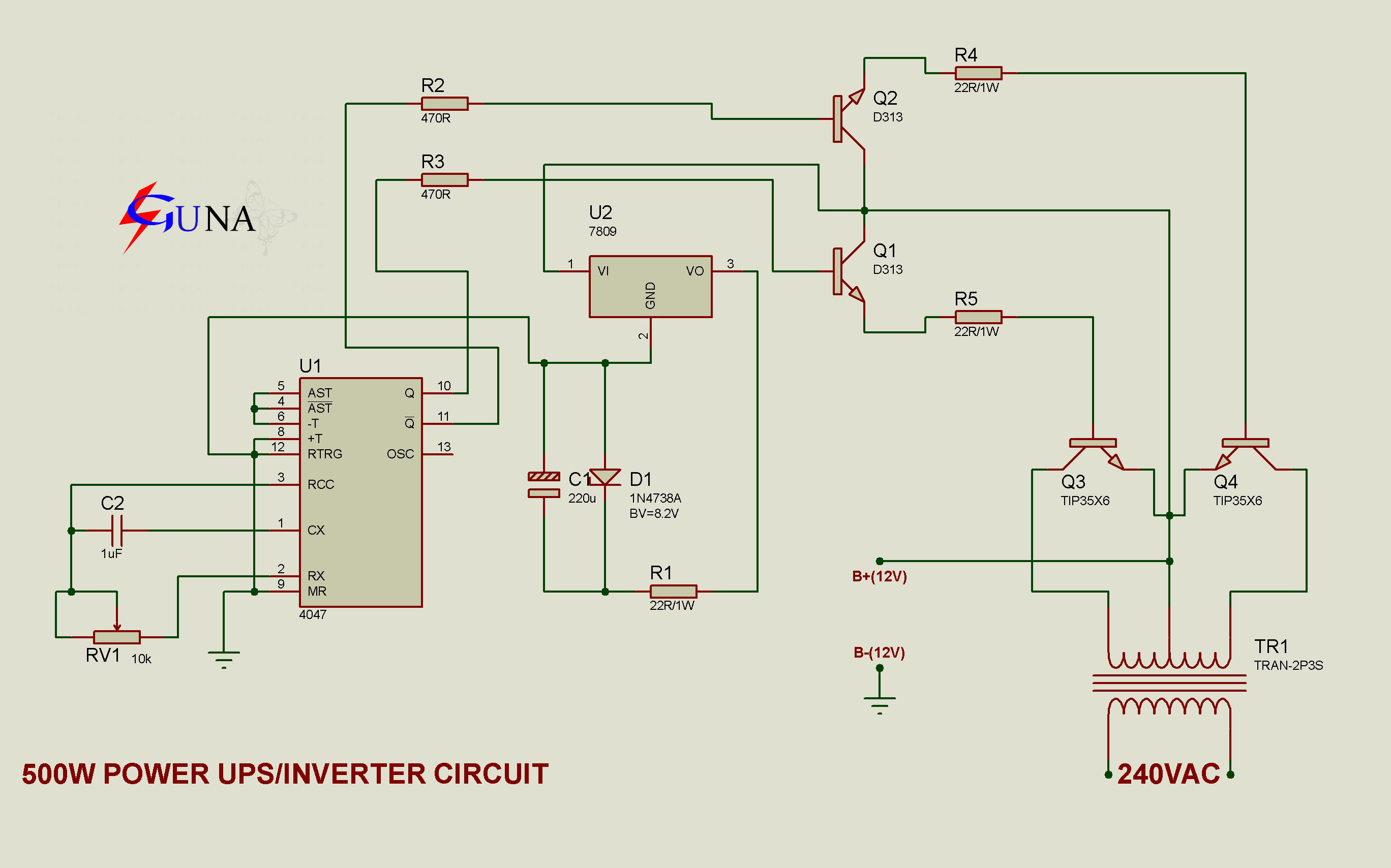 Gunacircuits 500w Inverter Circuit Diagram This Is The Power Converting A 12vdc Battery Usually Car To Become 220 240v Ac Powered Using 6 Pairs