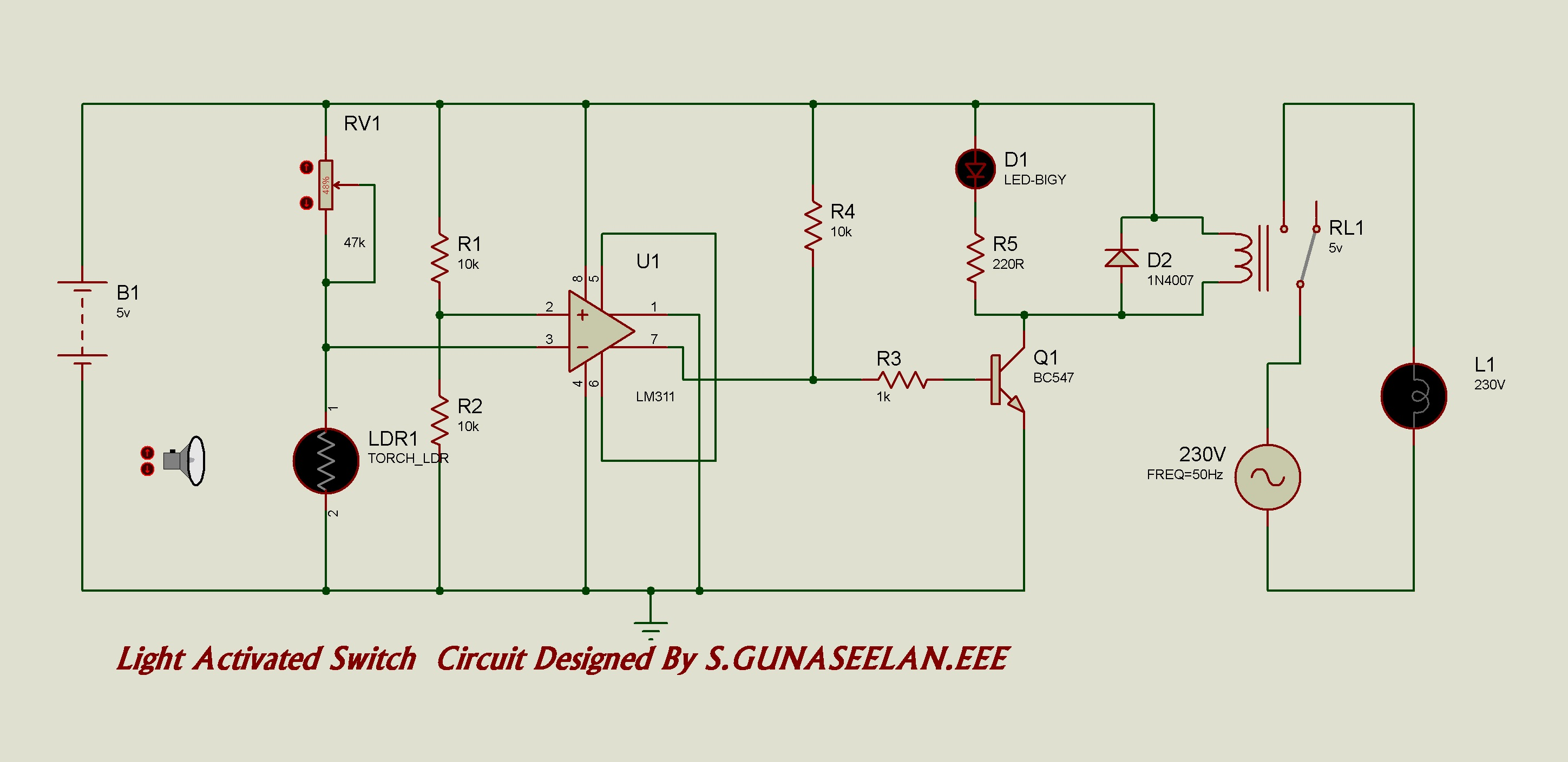 Gunacircuits Clap Switch Circuit Using Ne555 Timer Ic Circuits Gallery A Simple Light Activated With Diagram And Schematic Lm 311 Wired As Voltage Comparator An Ldr That Acts Sensor
